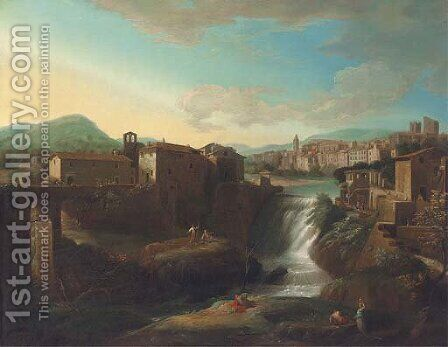 A view of Tivoli with the Vecchia Cascata dell'Aniene by (circle of) Wittel, Gaspar van (Vanvitelli) - Reproduction Oil Painting