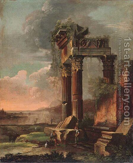 A capriccio of classical ruins with figures in the foreground by (after) Gennaro Greco, Il Mascacotta - Reproduction Oil Painting