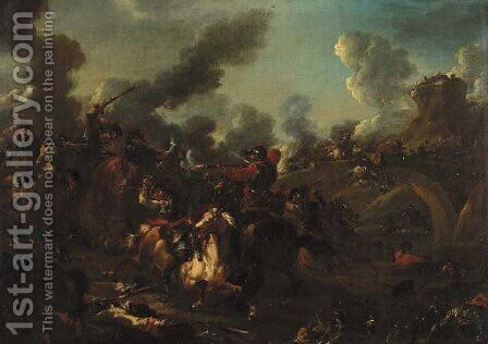 A  cavalry skirmish in a landscape by (after) Rugendas, Georg Philipp I - Reproduction Oil Painting