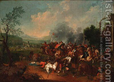 A cavalry skirmish near a castle by (after) Georg Phillip Rugendas II - Reproduction Oil Painting