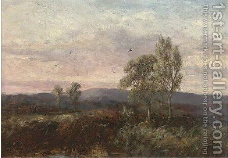 An extensive moorland landscape with trees by (after) George A. Boyle - Reproduction Oil Painting