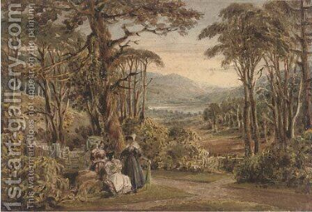 Figures with parasols conversing in an arcadian landscape by (after) Ircle Of George Jun Barret - Reproduction Oil Painting