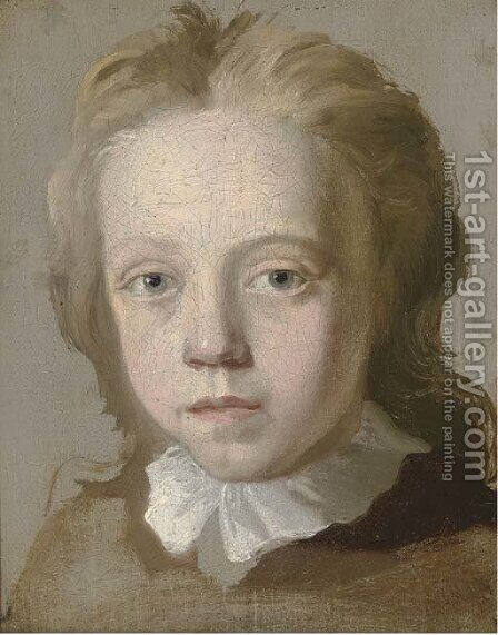 Portrait of a boy, head-and-shoulders, a study by (after) George Beare - Reproduction Oil Painting