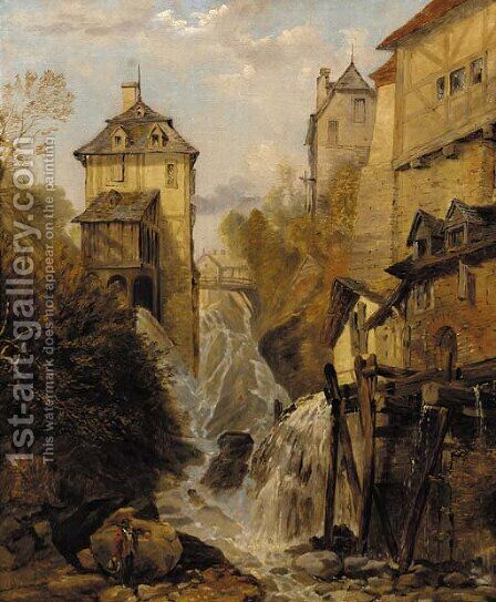 A waterfall through an Alpine town by (after) George Clarkson Stanfield - Reproduction Oil Painting