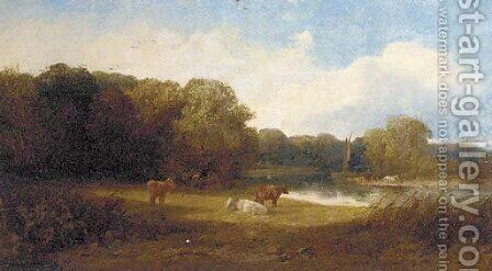 A tranquil river landscape with cattle in the foreground by (after) George Snr Cole - Reproduction Oil Painting