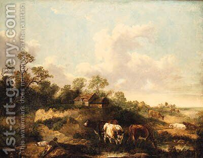 A Drover And Cattle Resting In A Wooded Landscape by (after) George Morland - Reproduction Oil Painting