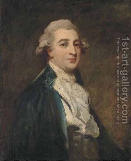 Portrait of a gentleman, bust-length, in a blue jacket and white cravat by (after) Romney, George - Reproduction Oil Painting