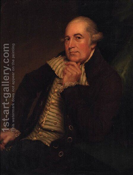 Portrait of George Maltby, seated three-quarter-length, in a brown coat and green and white striped waistcoat by (after) Romney, George - Reproduction Oil Painting