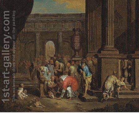 Christ healing the blind by (after) Gerard Hoet - Reproduction Oil Painting
