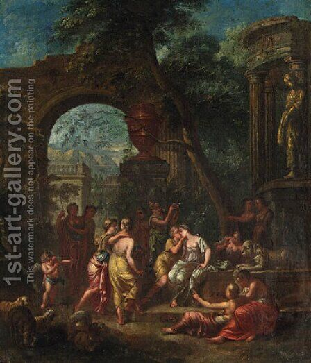 Mirtillo kissing Amarillis; and The Crowning of Mirtillo by (after) Gerard Hoet - Reproduction Oil Painting