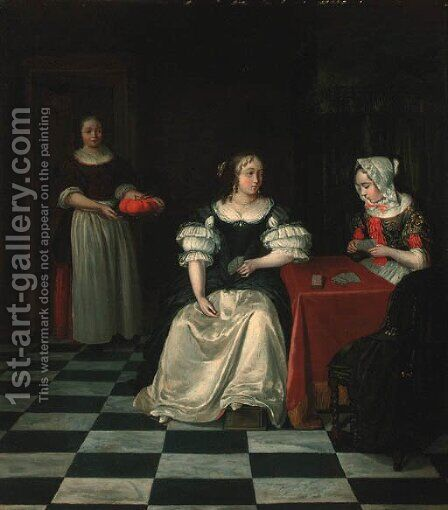 A lady and her chaperone playing cards in an interior by (after) Gerard Ter Borch - Reproduction Oil Painting