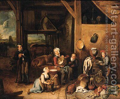 A peasant family in a barn with vegetables and kitchen utensils in the foreground by (after) Gerard Thomas - Reproduction Oil Painting
