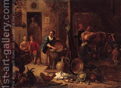 A peasant family in a farmyard with pots and pans, cabbages and poultry, a milkmaid in a stable beyond by (after) Gerard Thomas - Reproduction Oil Painting