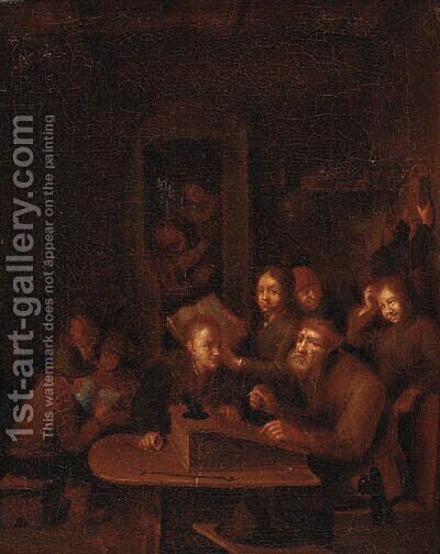 A schoolroom by (after) Gerrit Lundens - Reproduction Oil Painting
