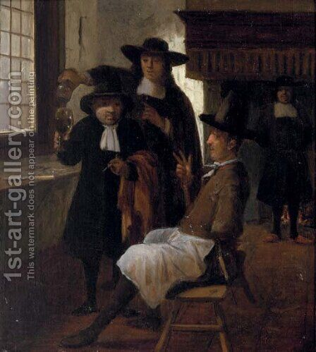 Townsfolk drinking and smoking in an inn by (after) Gerrit Lundens - Reproduction Oil Painting