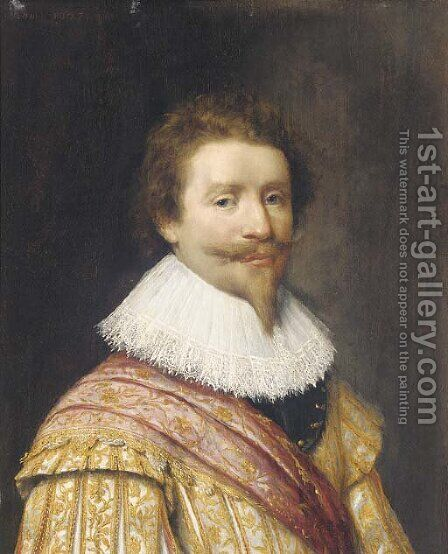 Portrait of a nobleman, possibly Frederik Henderick, Prince of Orange (1584-1647) half-length, in a gold embroidered coat by (after) Honthorst, Gerrit van - Reproduction Oil Painting