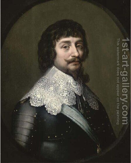 Portrait of Frederick V of Bohemia, the Winter King, Elector Palatine (1596-1632), bust-length, in armour with a lace collar by (after) Honthorst, Gerrit van - Reproduction Oil Painting