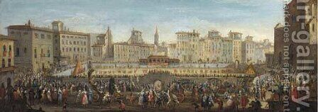 The Piazza Sante Croce Florence, looking North, with the Festa del Calcio by (after) Gherardo Poli - Reproduction Oil Painting