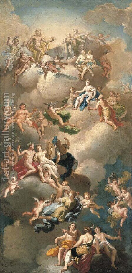 The Triumph of the Gods, a modello for a ceiling by (after) Giacinto Diano - Reproduction Oil Painting