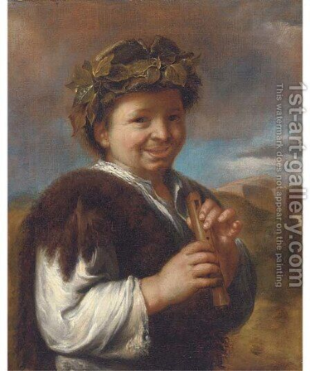 A boy playing a flute by (after) Giacomo Francesco Cipper - Reproduction Oil Painting