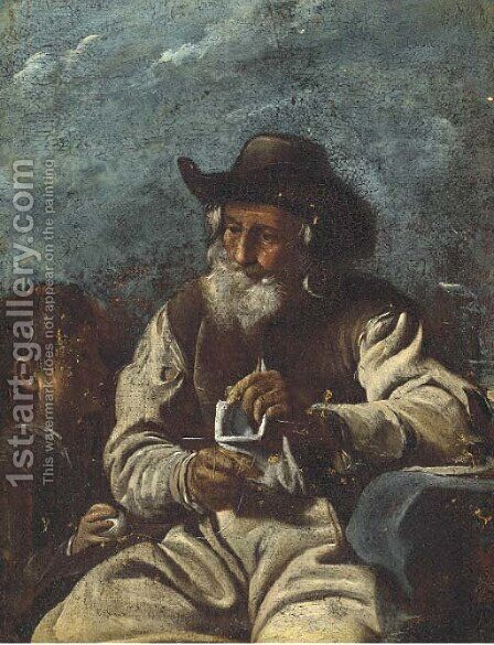 An old man knitting with a young boy by (after) Giacomo Francesco Cipper - Reproduction Oil Painting