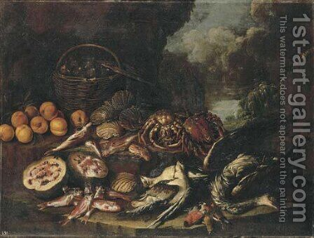Figs in a basket, peaches, a watermelon, scallops, crabs, dead fish and birds on a ledge in a landscape by (attr. to) Recco, Giacomo - Reproduction Oil Painting