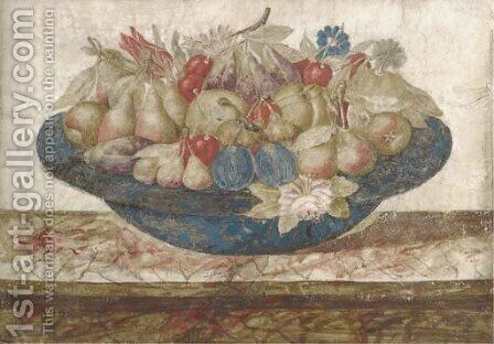 A dish of pears, plums, cherries and figs with a spray of flowers by (after) Giovanna Garzoni - Reproduction Oil Painting