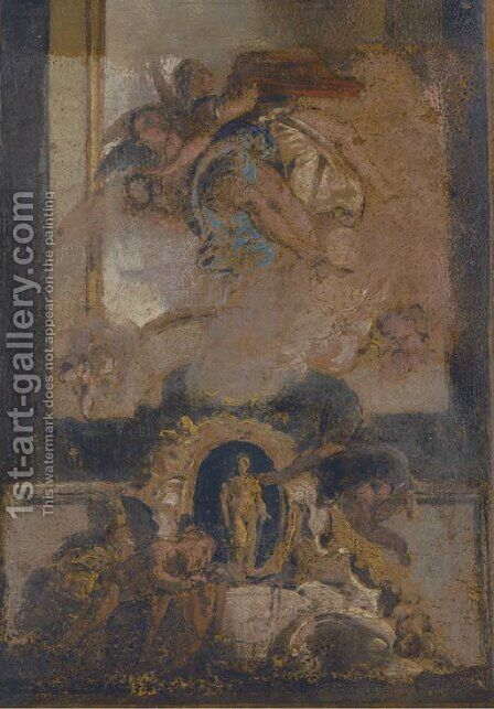 A bozetto for a wall panel by (after) Giovanni Antonio Pellegrini - Reproduction Oil Painting
