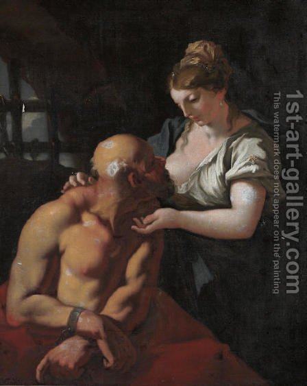 Roman Charity by (after) Giovanni Antonio Pellegrini - Reproduction Oil Painting