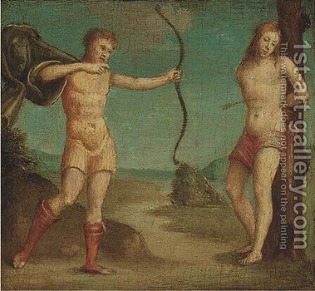 The Martyrdom of Saint Sebastian by (after) Giovanni Battista Caroto - Reproduction Oil Painting