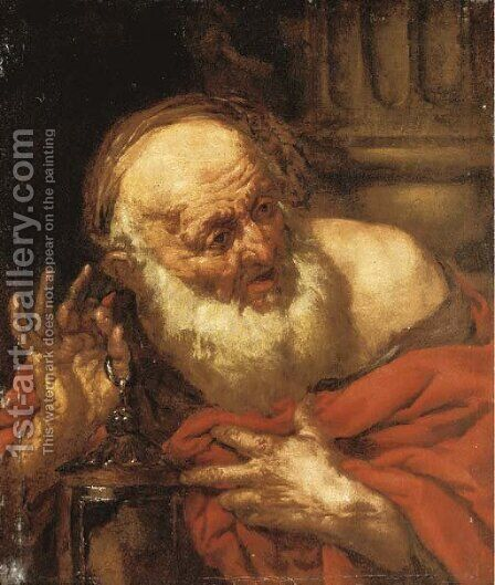 Diogenes by (after) Giovanni Battista Langetti - Reproduction Oil Painting