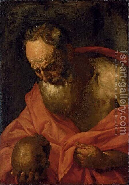 Saint Jerome by (after) Giovanni Battista Langetti - Reproduction Oil Painting