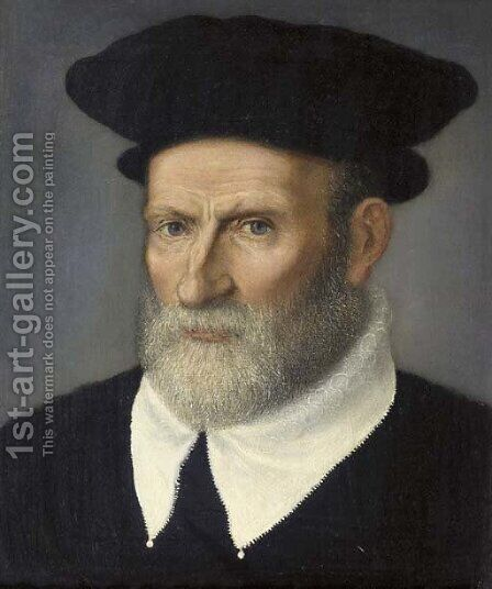 Portrait of a scholar by (after) Giovanni Battista Moroni - Reproduction Oil Painting