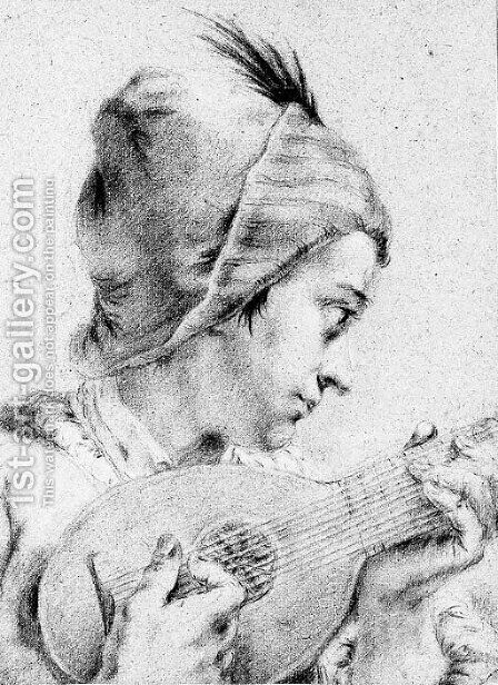 A boy in a feathered hat, playing a mandolin, bust length by (after) Giovanni Battista Piazzetta - Reproduction Oil Painting