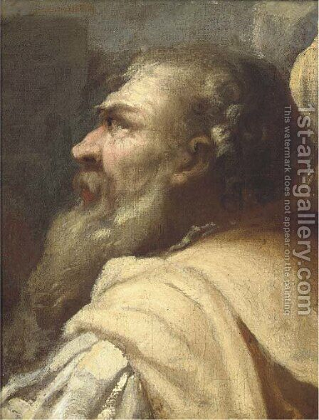 Study of a bearded man in profile by (after) Giovanni Battista Piazzetta - Reproduction Oil Painting