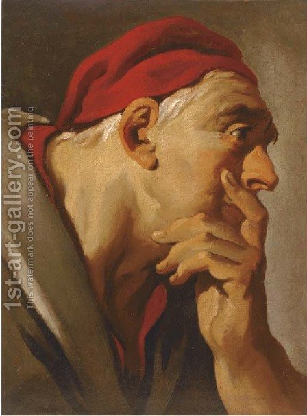 Head of a man in a red cap by (after) Giovanni Battista Tiepolo - Reproduction Oil Painting
