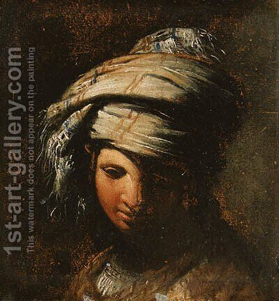 A young woman wearing a turban by (after) Giovanni Bernardino Azzolino, Called Mazzolini - Reproduction Oil Painting