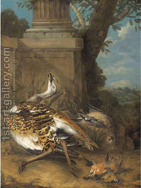 Dead birds by a plinth in a clearing by (after) Giovanni Crivelli, Il Crivellone - Reproduction Oil Painting