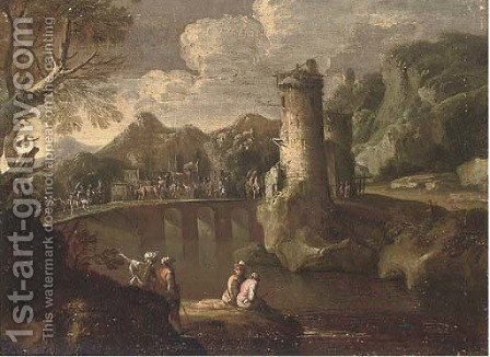A mountainous landsape with a caravan crossing a turretted bridge, anglers in the foreground by (after) Giovanni De Momper - Reproduction Oil Painting