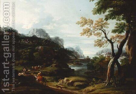 An Italianate landscape with drovers and cattle on a track by (after) Giovanni Francesco Grimaldi - Reproduction Oil Painting