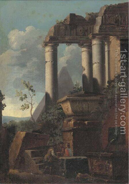 Classical ruins and a pyramid with figures conversing by (after) Giovanni Ghisolfi - Reproduction Oil Painting