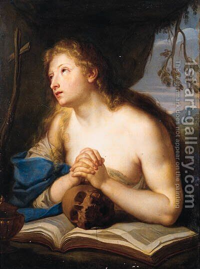 The Penitent Magdalen by (after) Giovanni Giuseppe Dal Sole - Reproduction Oil Painting