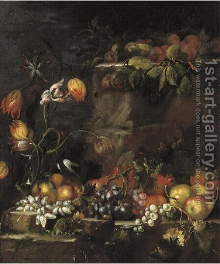 A glass vase with tulips, and apples, grapes, pears and other fruit on a stone ledge by (after) Giovanni Di Paolo - Reproduction Oil Painting