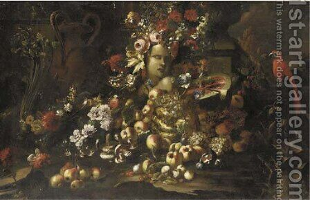 A marble bust surrounded by roses by (after) Giovanni Paolo Castelli, Called Spadino - Reproduction Oil Painting