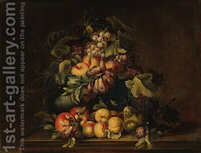 Peaches, plums, grapes, pears and limes in an urn with other fruit on a ledge by (after) Giovanni Paolo Castelli, Called Spadino - Reproduction Oil Painting