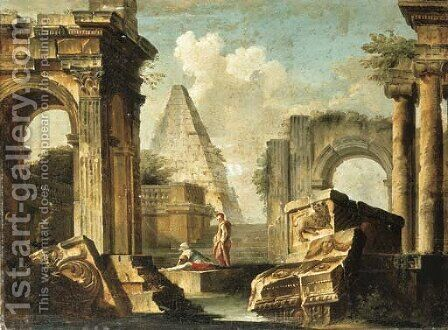 A capriccio of classical ruins with figures by (after) Giovanni Paolo Panini - Reproduction Oil Painting