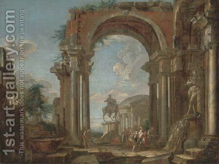 A capriccio of classical ruins with soldiers and other figures conversing by the equestrian statue of Marcus Aurelius by (after) Giovanni Paolo Panini - Reproduction Oil Painting