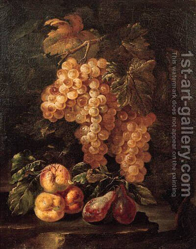 Bunches of grapes hanging from a vine with peaches and plums on a rock by (after) Giovanni Di Paolo - Reproduction Oil Painting