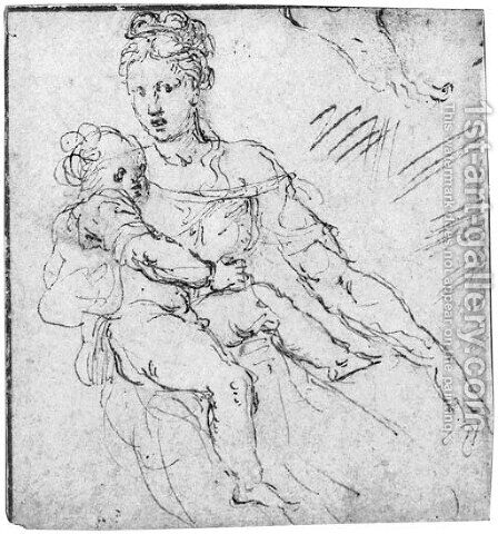 The Madonna and Child, with a subsidiary study of a foot by (after) Girolamo Da Carpi - Reproduction Oil Painting