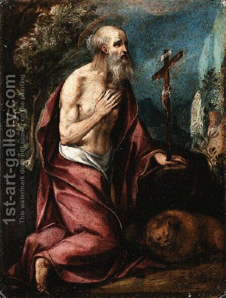 Saint Jerome in the Wilderness by (after) Girolamo Muziano - Reproduction Oil Painting